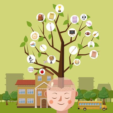 Education concept brain tree, cartoon style