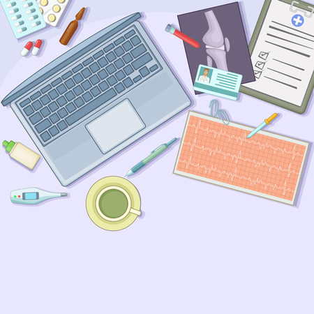 ampoule: Medicine concept workstation, cartoon style