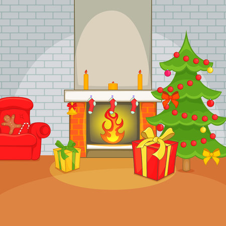 apartment bell: Christmas room concept, cartoon style