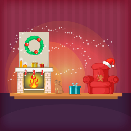 apartment bell: Christmas room concept magic, cartoon style