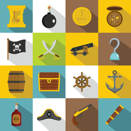 Pirate icons set, flat style Illustration