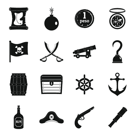 cocked hat: Pirate icons set, simple style