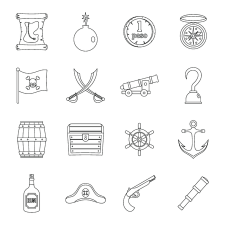 cocked hat: Pirate icons set, flat style Illustration