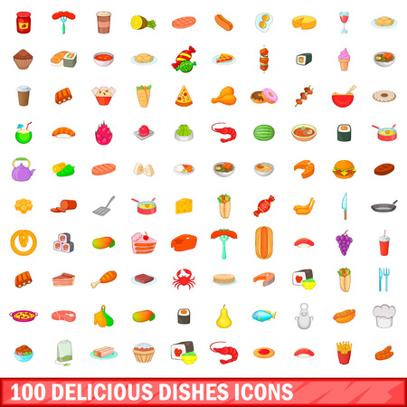 100 delicious dishes icons set, cartoon style Illustration