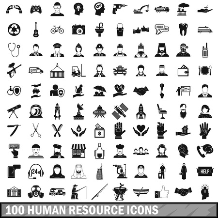 100 の人間のリソース アイコンを設定するシンプルなスタイルで