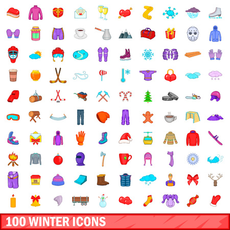 100 winter icons set, cartoon style Illustration