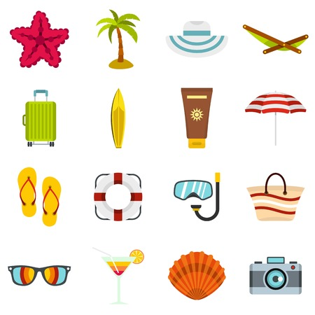 Summer rest set flat icons Illustration