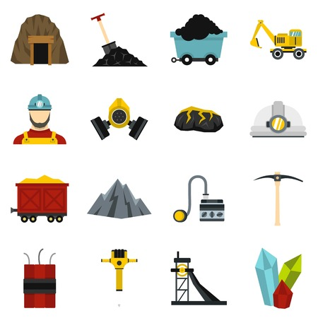 Miner set flat icons Illustration