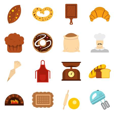 rolling bag: Bakery set flat icons Illustration