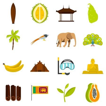 tea plantation: Sri Lanka travel set flat icons