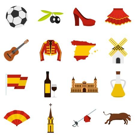 Spain travel set flat icons Illustration