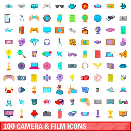 100 camera and film icons set, cartoon style Illustration