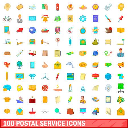 100 postal service icons set, cartoon style