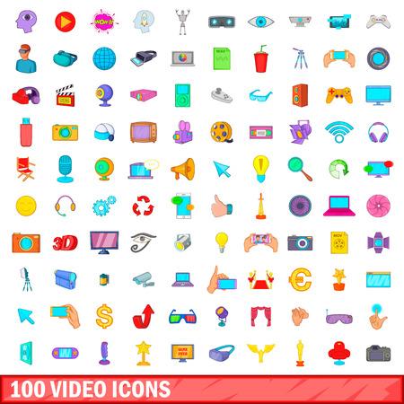 100 video icons set, cartoon style Illustration