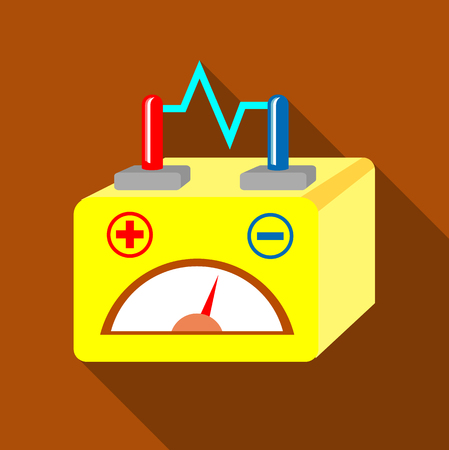starter: Car battery icon, flat style Illustration