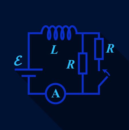 Electric switch diagram icon, flat style Ilustração