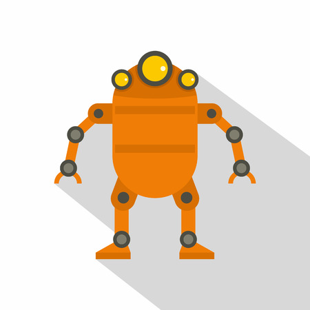 space antenna: Orange abstract robot icon, flat style Illustration
