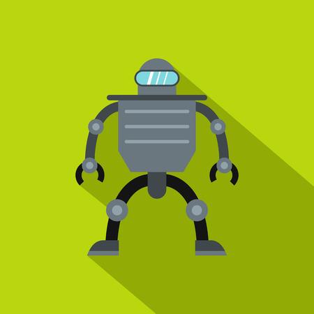 Cyborg robot icon, flat style