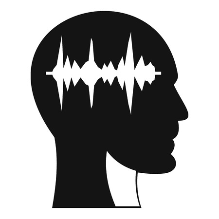 Sound wave icon in human head icon, simple style Illusztráció