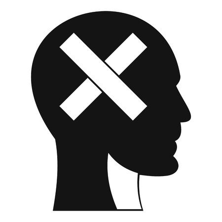 Human head with cross inside icon, simple style Illusztráció