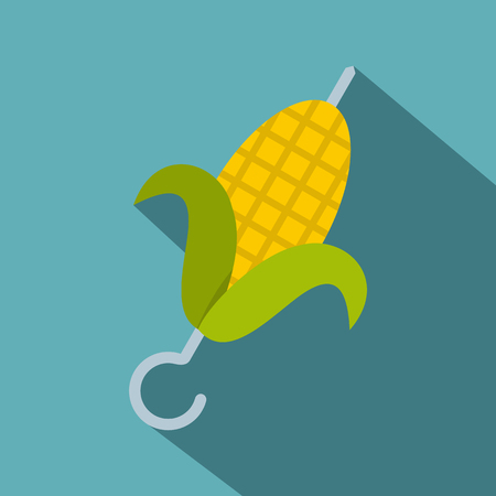 Delicious grilled corn in skewer icon, flat style Illustration