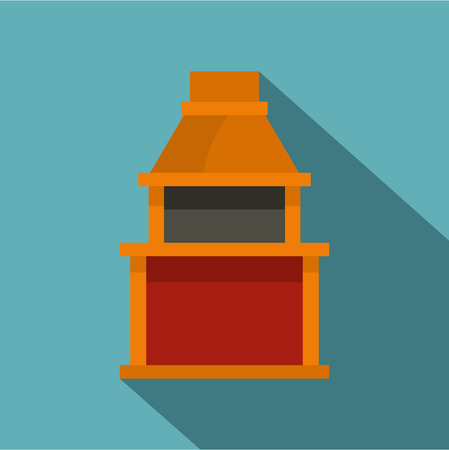 Barbecue gas grill icon, flat style Illustration