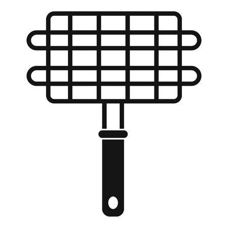 stainless: Stainless barbecue grill camping basket icon Illustration