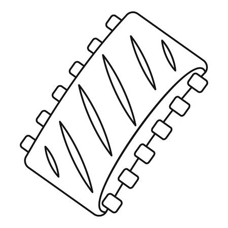 spare ribs: Pork ribs icon, outline style Illustration