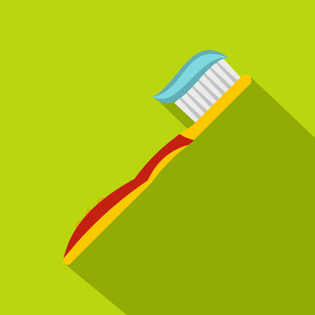 Yellow toothbrush with toothpaste icon, flat style