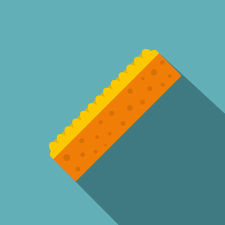 Orange sponge for cleaning icon, flat style