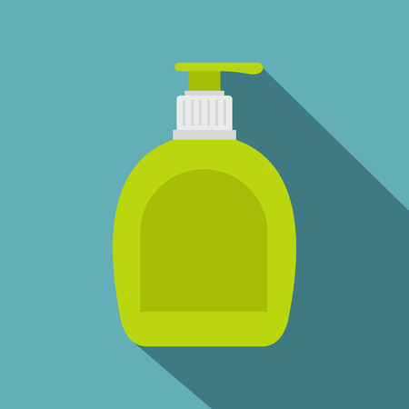 Green bottle with liquid soap icon, flat style