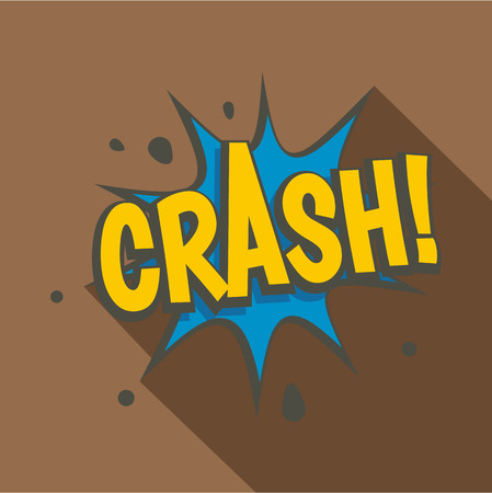 Crash, explosion speech bubble icon, flat style Illustration