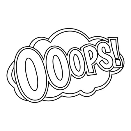 ooops: OOOPS, comic text sound effect icon, outline style