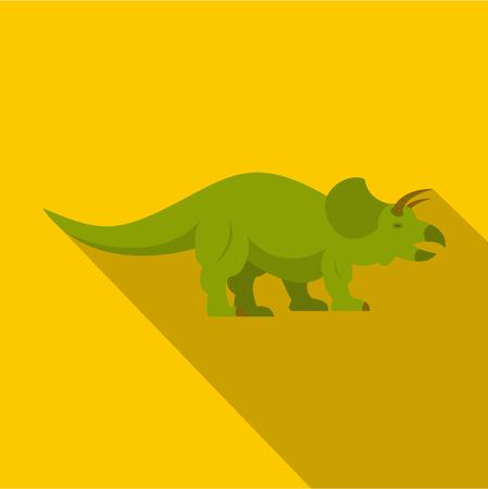 Green styracosaurus dinosaur icon, flat style