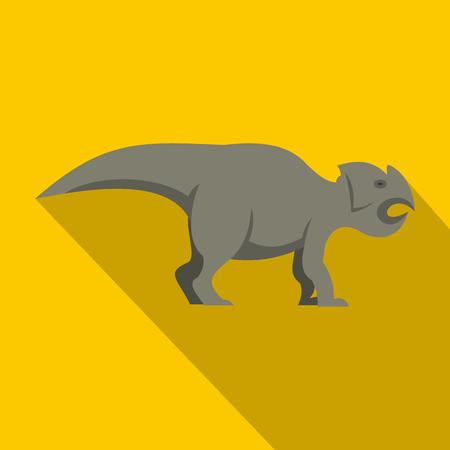 Grey ceratopsians dinosaur icon, flat style