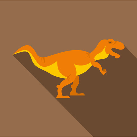 tyrannosaur: Orange tyrannosaur dinosaur icon, flat style Illustration