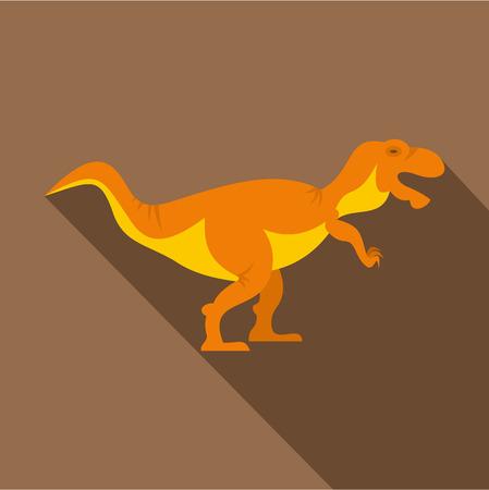 Orange tyrannosaur dinosaur icon, flat style Illustration