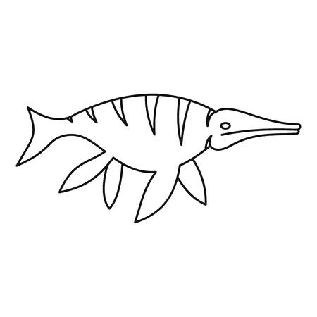Ichthyosaur dinosaur icon, outline style