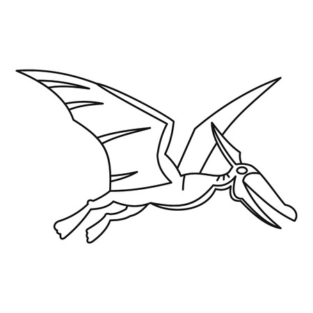 stare: Winged dinosaur icon, outline style Illustration