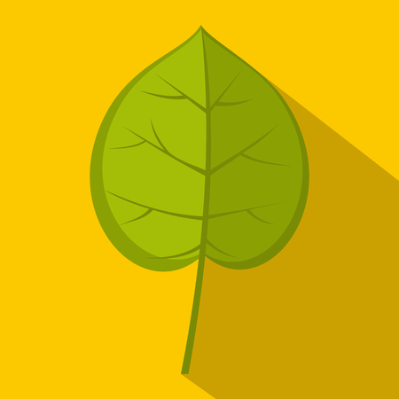 Green linden leaf icon, flat style
