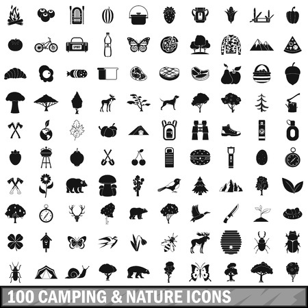 butterfly knife: 100 camping and nature icons set in simple style