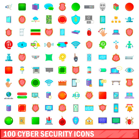100 cyber security icons set, cartoon style Illustration