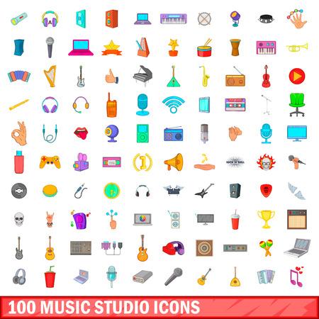 metronome: 100 music studio icons set, cartoon style