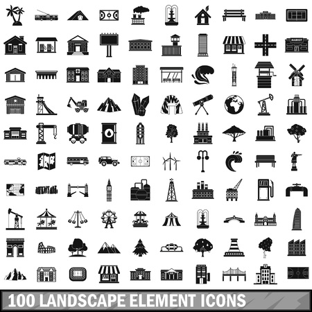 watermill: 100 landscape element icons set in simple style