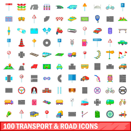 magnyfying glass: 100 transport and road icons set, cartoon style Illustration