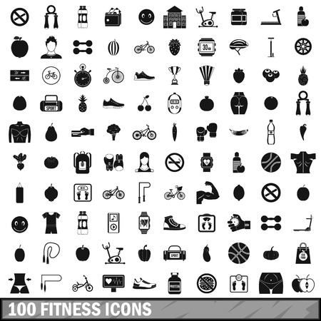 no correr: 100 fitness icons set in simple style for any design vector illustration