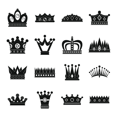 Crown icons set. Simple illustration of 16 crown vector icons for web