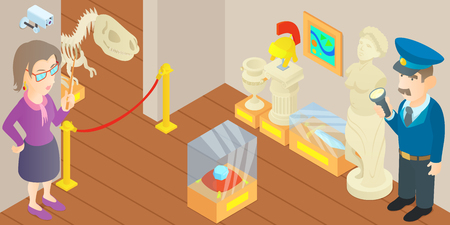 attending: Museum concept. Cartoon illustration of museum vector concept for web Illustration