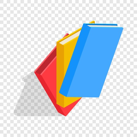 Three educational books isometric icon 3d on a transparent background vector illustration Illustration
