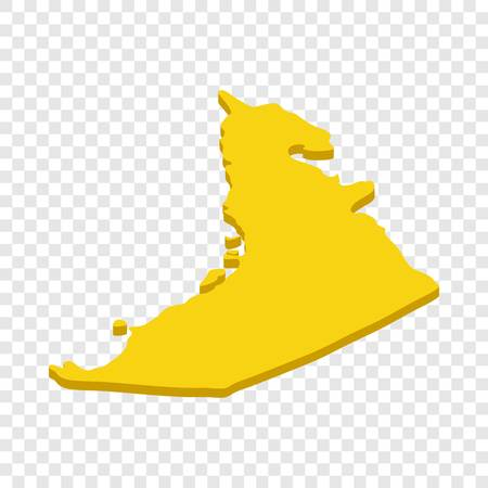 Map UAE isometric icon 3d on a transparent background vector illustration